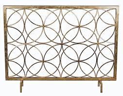 modern antique gold iron circles fireplace fire screen geometric