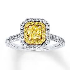 yellow diamond enement ring 1 1 5 ct tw 18k white gold