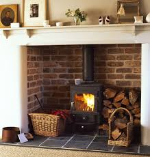 Wood burner in fireplace with log stack. this is brilliant for old homes  and nonworking