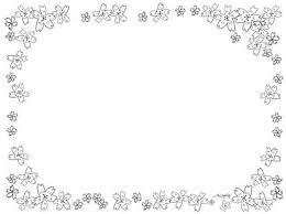 春 イラスト かわいい 花桜 背景 枠 素材画像 フリー無料白黒