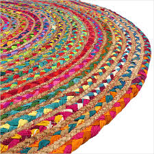 sentinel 4 ft round colorful natural jute chindi sisal woven area braided rug boho bohemi
