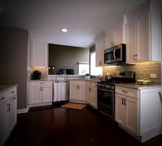 Dark Wood Floors In Kitchen White And Gray Kitchen With Dark Wood Floors Ac Home Design