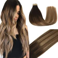 Dark To Light Ombre Hair Goo Goo Hair Extensions Tape In Ombre Dark Brown To Light Brown And Ash Blonde Balayage 100 Real Remy Human Hair Extensions Tape In Natural Hair