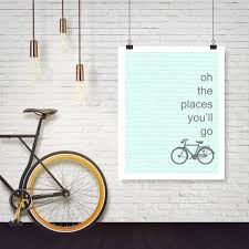 places you ll go bike e poster blue