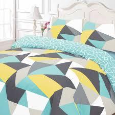 shapes geometric duvet cover sets blue  black  single double
