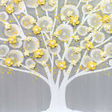 center view of wall art gray and yellow apple tree