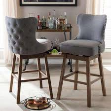 upholstered swivel counter stools. Exellent Counter Gray Fabric Upholstered Swivel Bar Stool Set Of 2 Inside Counter Stools