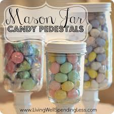Decorated Jars Craft DIY Mason Jar Candy Pedestals DIY Mason Jars DIY Candy Pedestals 68