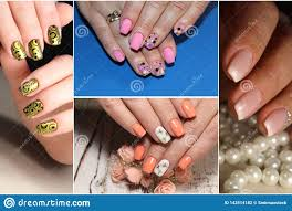 Solid Color Acrylic Nail Designs A Diverse Range Of Nail Design Collage By Nail Art Stock