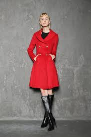 short red jacket winter coat knee length double ted fit flare elegant simple