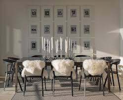 black white area rug stripe area rug glass dining table black industrial dining chairs cushions