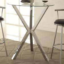 bar units and bar tables round pub table with glass top and x shaped chrome colored base