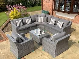 denver curved rattan complete sofa set