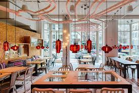 restaurant pendant lighting. while some hang in a row along the booth seating others above separate tables to unify restaurant pendant lighting throughout space e