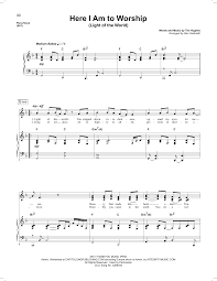 World Of Light Piano Sheet Music Phillips Craig Dean Here I Am To Worship Light Of The World Sheet Music Notes Chords