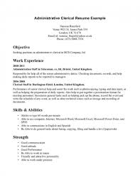 Resume For Clerical Position Resume Objectives For Clerical Positions Study