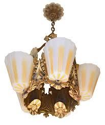 iron five light williamson beardslee art deco chandelier with original polychrome finish and five
