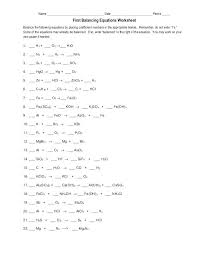 balancing equations practice worksheet chemical chemistry free reactions chemfiesta