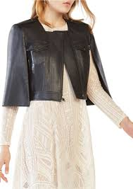 bcbgmaxazria richie cropped faux leather cape