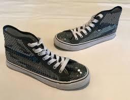 Balera Dance Sneakers Hip Hop High Tops Gray Sequin Size 7
