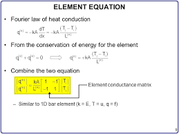 9 element conductance matrix element equation fourier law of heat conduction