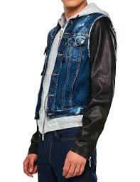 credit jean jacket with leather sleeves denim zara angels sleeve denim jean jacket