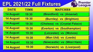 premier league 2021 22 full fixtures
