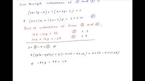 find equation of line through intersection of the two given pairs of straight lines