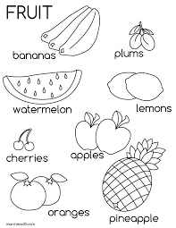 Cute Fruit Coloring Pages Summer W For Watermelon Drawing And