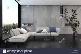 Geräumiges Wohnzimmer Mit Großem Fenster Und Grauen Innenraum