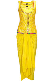 Ladies Lungi Designs Yellow Gota Embroidered Jaal Jacket With Draped Lungi Skirt