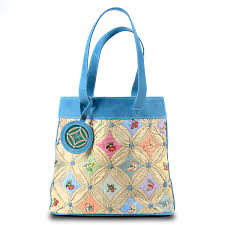photo of garden tote bag blue silk leather with erflies and flowers by joanna smith