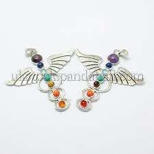 vintage chakra jewelry alloy bezel gemstone big pendants uk g m039 01
