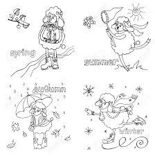 子供の手書きのスタイルでスケッチを落書き今年の時間のかわいい概要羊女の子春夏秋冬の面白い動