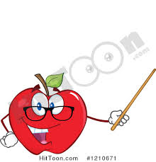 teacher holding apple clipart. cartoon of a red apple teacher mascot wearing glasses, holding pointer stick - royalty clipart