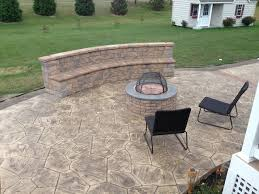 concrete patio with fire pit. Wonderful Pit Stamped Concrete Patios With Seating Wall And Fire Pit Patio And Concrete Patio With Pit T