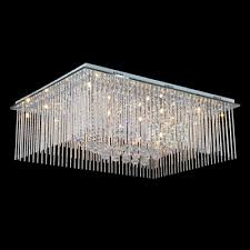 rectangular stainless steel canopy and dazzling crystal flush mount lighting