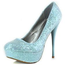 Light Blue Glitter Heels Sparkle Candy Glitter Platform Pumps Almond Toe Light Blue Color