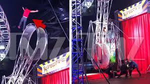 garden bros circus performer falls during wheel stunt