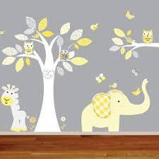 giraffe elephant monkey nursery wall decal sticker vinyl tree and branch jungle decals
