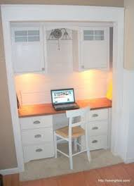 built-in desk from a closet