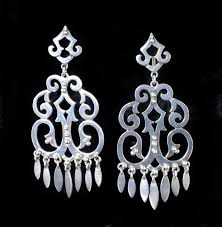 stupendously big vintage mexican silver chandelier earrings
