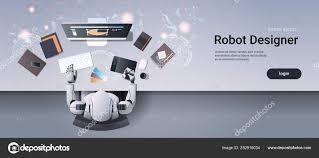 Graphic Designer Stuff Robot Graphic Designer Sitting At Creative Design Studio