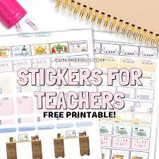 Teacher Planner Stickers Free Printable Cute Freebies