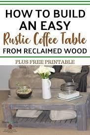 diy rustic coffee table free plans