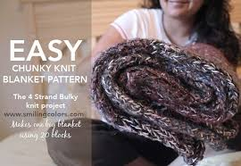 Chunky Knit Blanket Pattern Delectable Easy Chunky Knit Blanket Pattern 48 Strands Of Yarn Smitha Katti