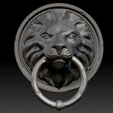Lion Door Knocker & ... Lion Head Door Knocker 3d Model Ztl 2 ...