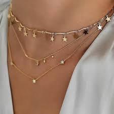 chic women s multi necklace simple fashion small diamond pendant necklace