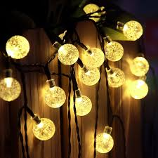 solar string lights.  Lights Warm White Crystal Ball Outdoor Solar String Lights And