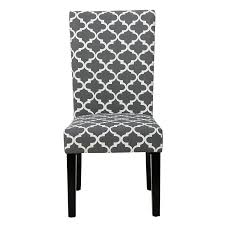 com modern fabric moroccan quatrefoil pattern parsons style dining chairs wood finish